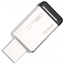 金士顿U盘(Kingston)USB3.1 128GB 金属U盘 DT50 高速车载U盘 黑色