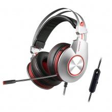 西伯利亚耳机 K5电竞游戏耳机头戴式7.1声效发光带耳麦电脑耳机绝地求生吃鸡耳机笔记本台式机电脑通用usb7.1声道活力红