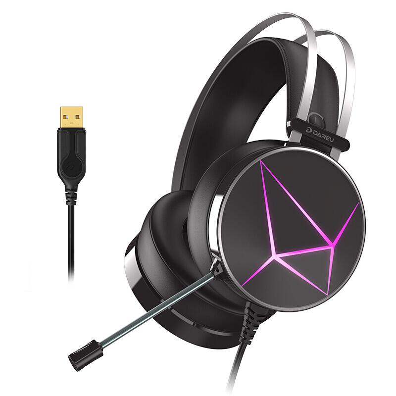 达尔优EH722RGB USB7.1幻彩版 耳机 耳麦 游戏耳机 电脑耳机 耳机头戴式 头戴式耳机 虚拟7.1声道