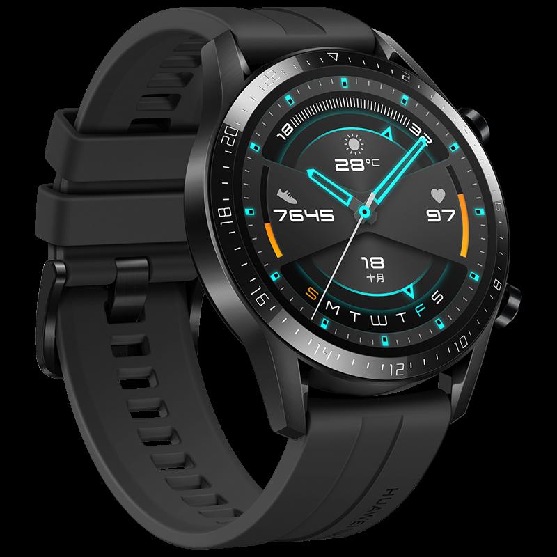 华为手表WATCH GT2代智能手环男女运动防水Pro定位NFC支付长续航手表 运动款(曜石黑46MM)