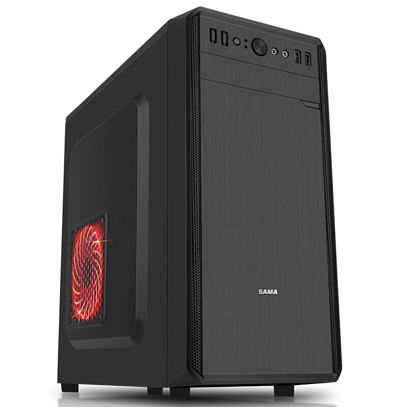 先马 塔里克荣耀版小板专用游戏机箱 支持双SSD光驱背线长显卡  黑色