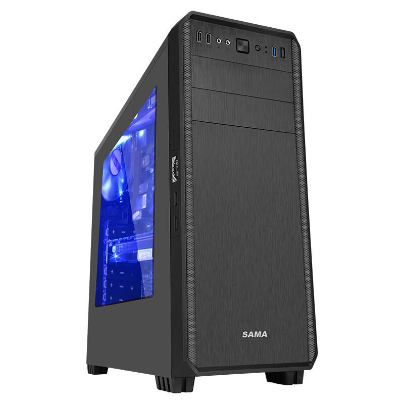 先马 塔里克 侧透版黑 游戏电脑机箱(宽大五金/拉丝面板/侧透/U3/支持SSD/380mm长显卡/背线)