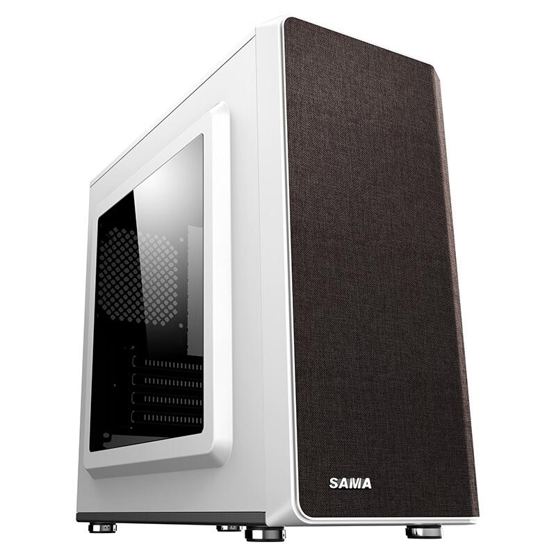 先马 斯卡布杏  家用办公电脑机箱 布艺面板磁吸可更换/配2把风扇/USB3.0/支持M-ATX主板/侧透/背线